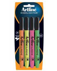 HIGHLIGHTERS ARTLINE SUPREME ASSORTED COLOURS H/S 4PK
